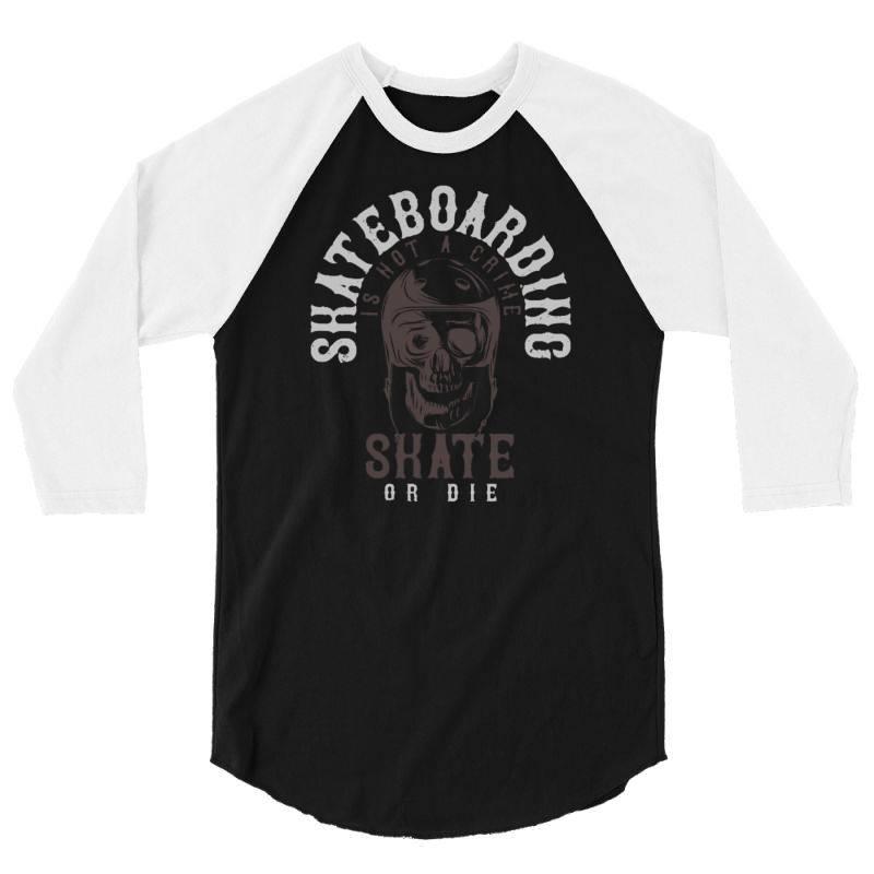 Skull In Skateboard Helmet 3/4 Sleeve Shirt   Artistshot