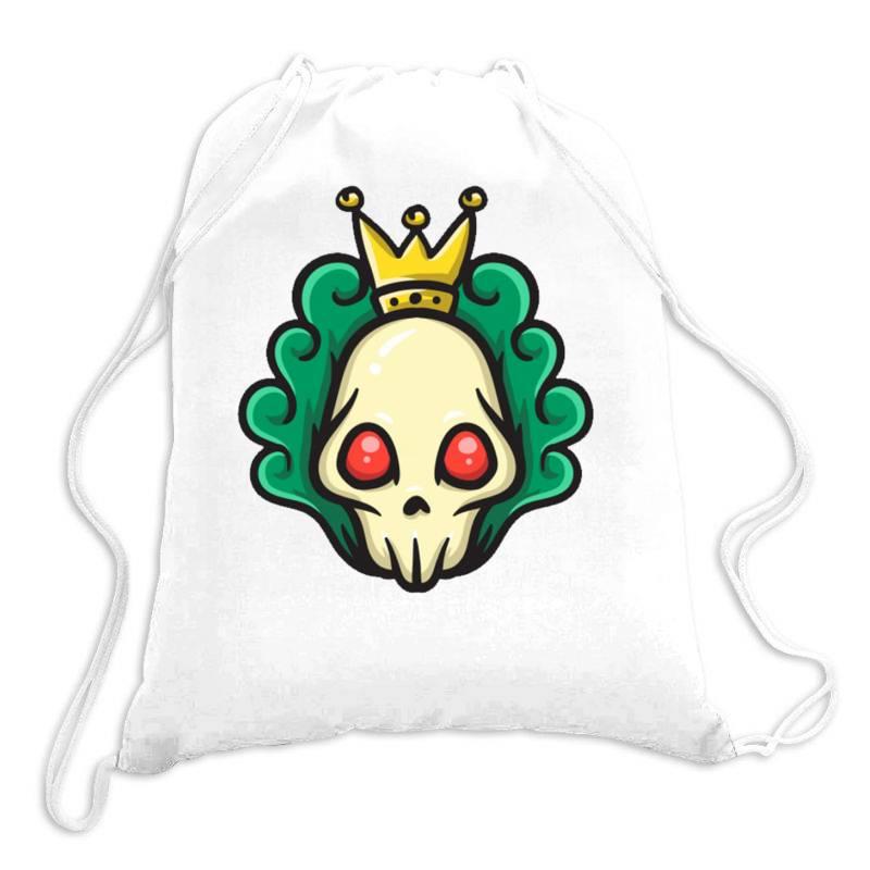 Skull Head With King Crown Drawstring Bags | Artistshot