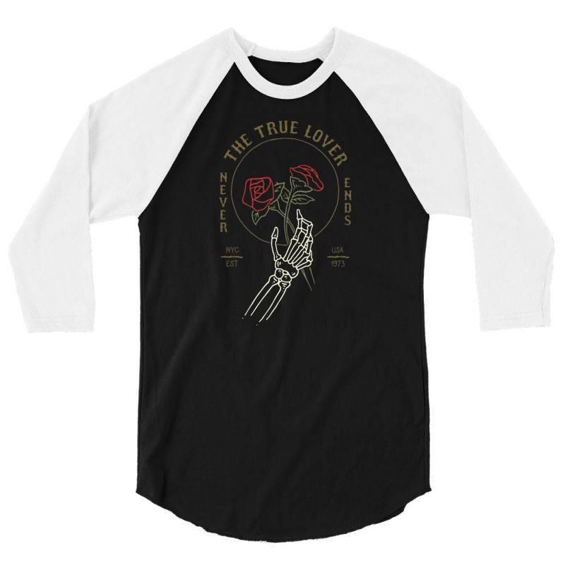 Skull Hand Rose 3/4 Sleeve Shirt   Artistshot