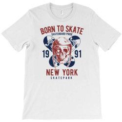 skull in skateboard helmet and two skateboards T-Shirt | Artistshot