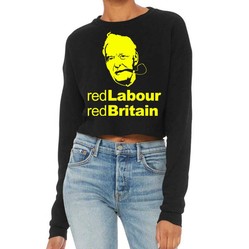 Tony Benn Red Labour 4 Cropped Sweater | Artistshot