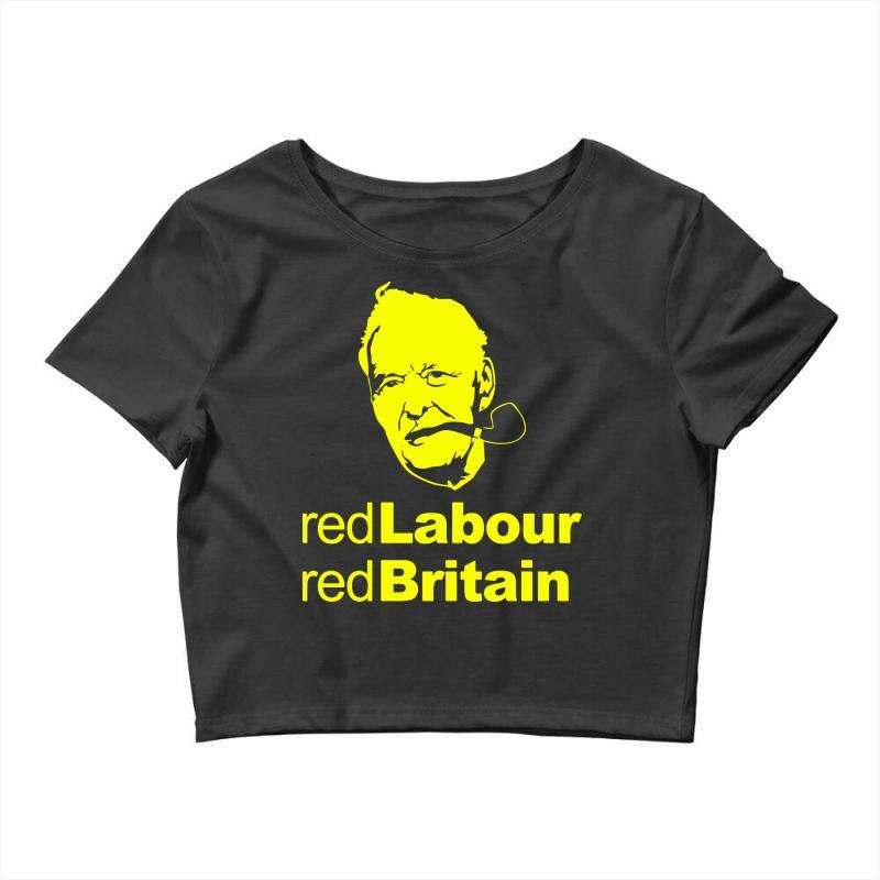 Tony Benn Red Labour 4 Crop Top   Artistshot