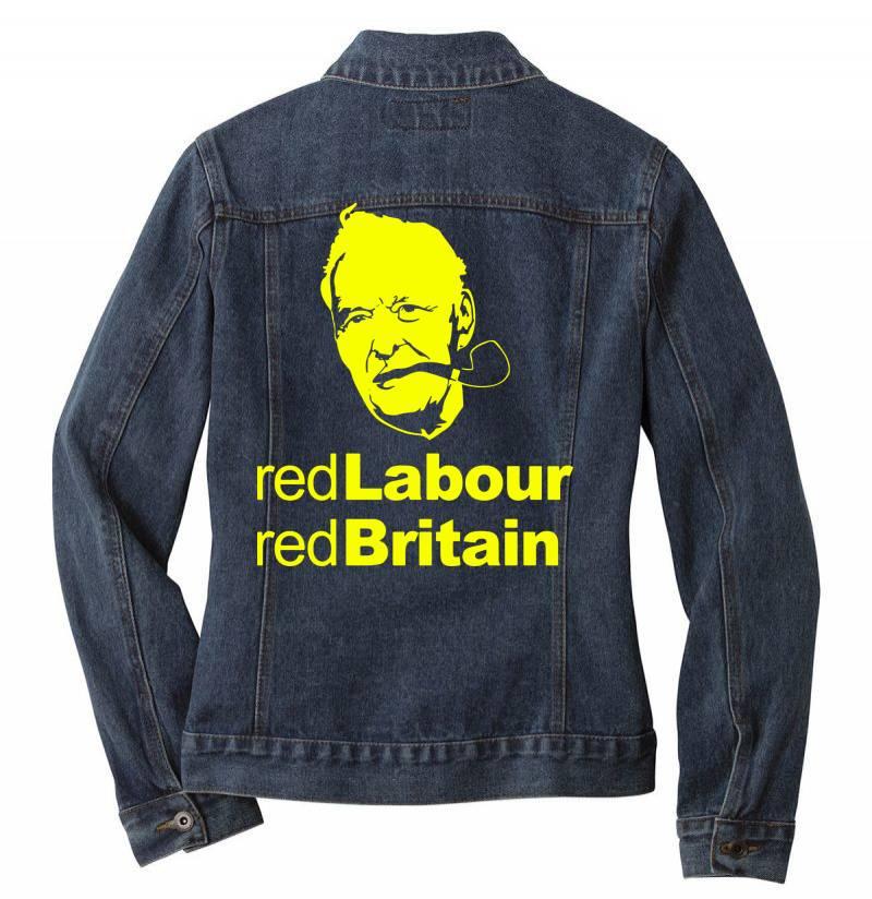 Tony Benn Red Labour 4 Ladies Denim Jacket | Artistshot
