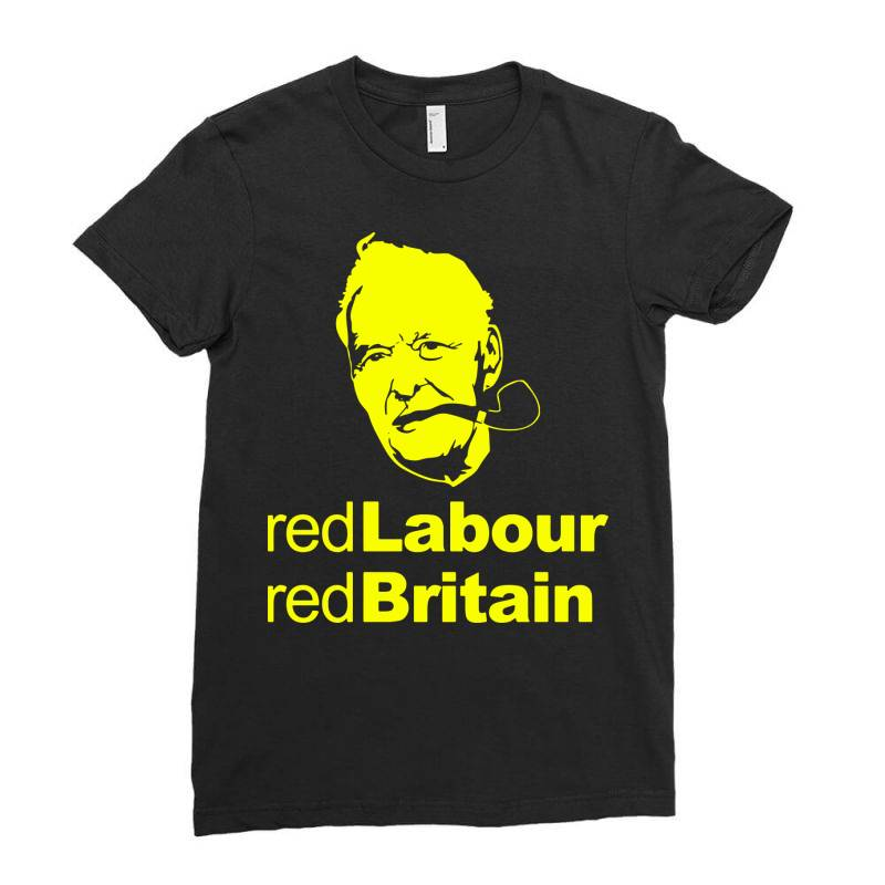 Tony Benn Red Labour 4 Ladies Fitted T-shirt | Artistshot