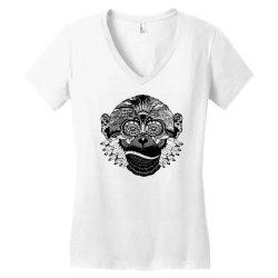 tribal monkey Women's V-Neck T-Shirt   Artistshot