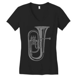 tuba trumpet saxhorn brass wind instrument(1) Women's V-Neck T-Shirt   Artistshot