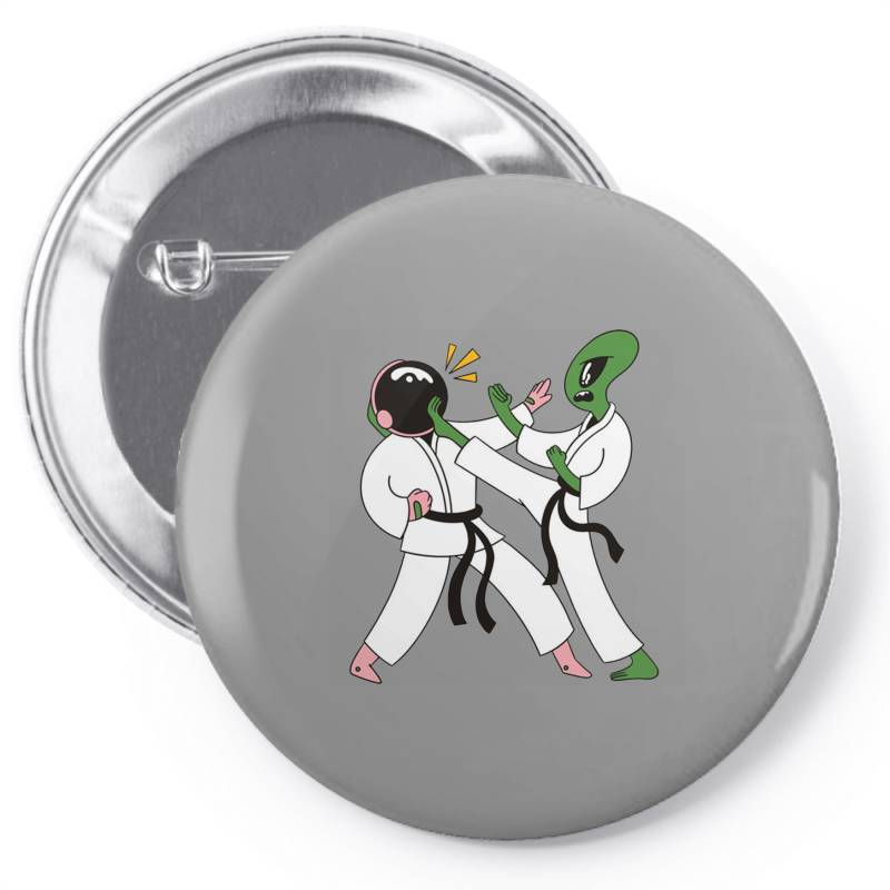 Alien Astronaut Karate Pin-back Button | Artistshot