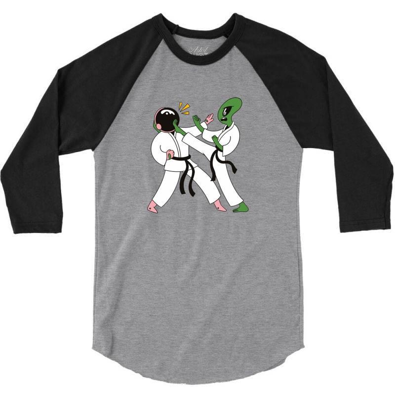 Alien Astronaut Karate 3/4 Sleeve Shirt | Artistshot