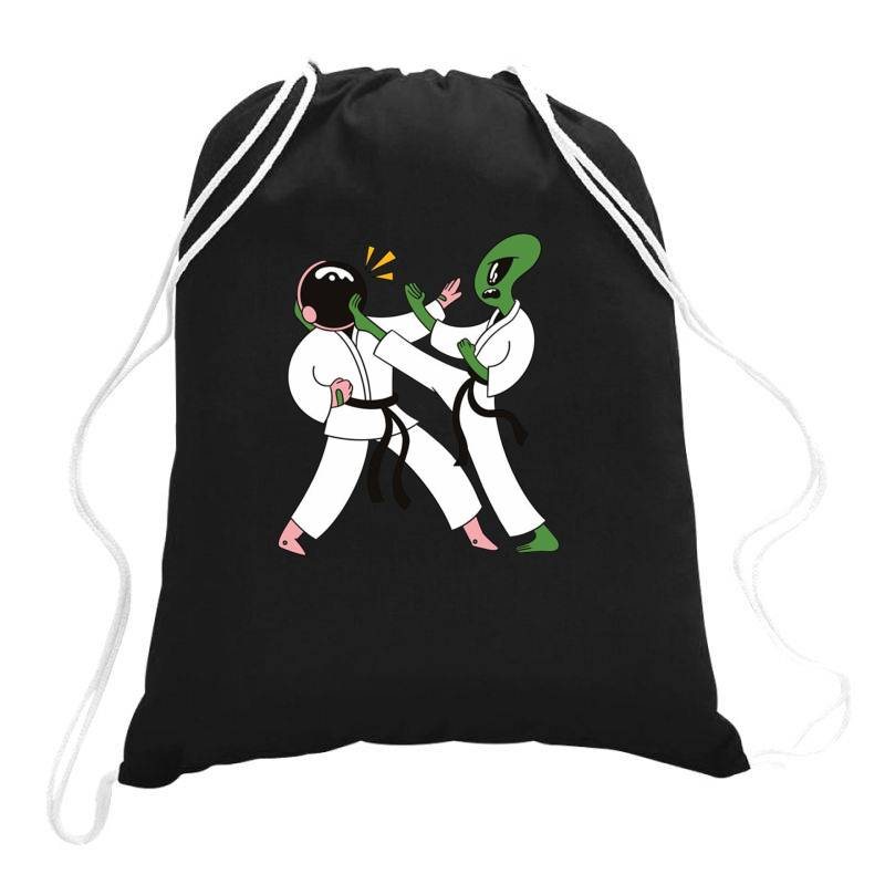 Alien Astronaut Karate Drawstring Bags | Artistshot