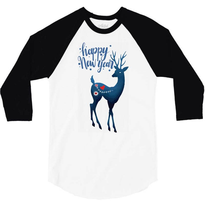White Christmas Reindeer For New Year 3/4 Sleeve Shirt | Artistshot