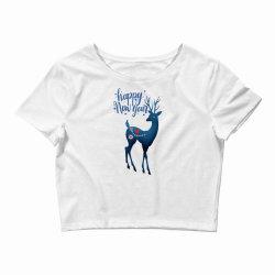 white christmas reindeer for new year Crop Top | Artistshot