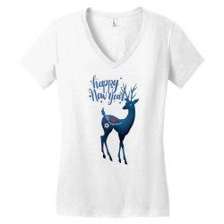 white christmas reindeer for new year Women's V-Neck T-Shirt | Artistshot