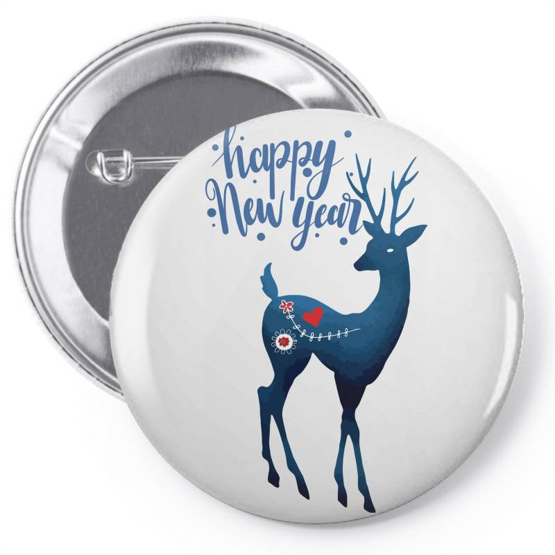 White Christmas Reindeer For New Year Pin-back Button | Artistshot