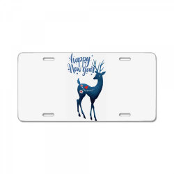 white christmas reindeer for new year License Plate | Artistshot