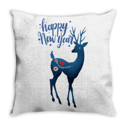 white christmas reindeer for new year Throw Pillow | Artistshot