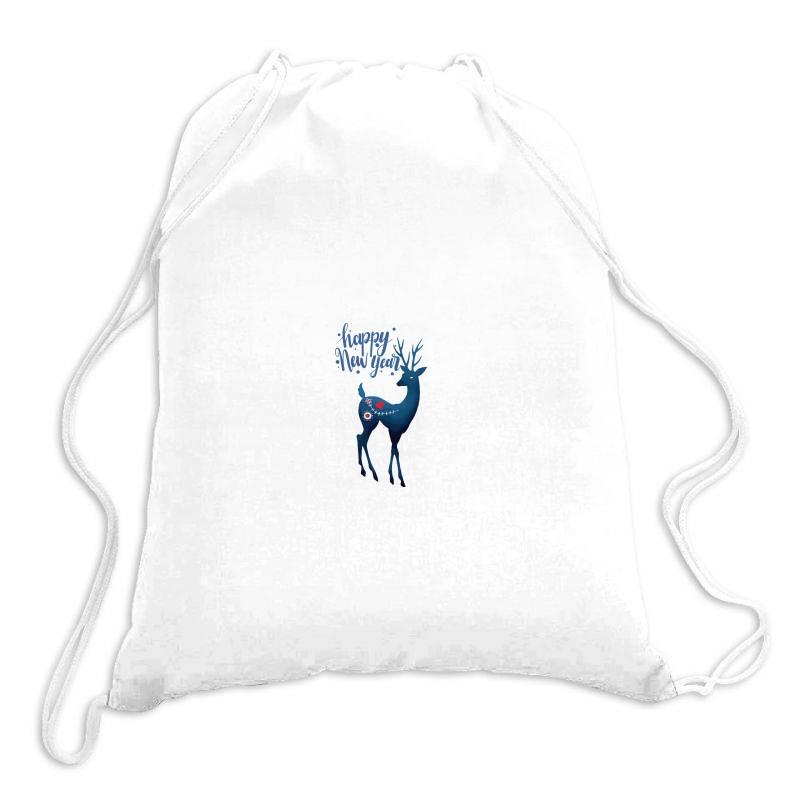 White Christmas Reindeer For New Year Drawstring Bags | Artistshot