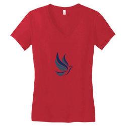 Simple flying bird design Women's V-Neck T-Shirt   Artistshot