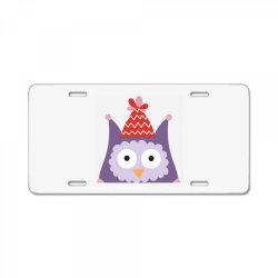 pink owl purple for christmas License Plate | Artistshot