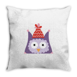 pink owl purple for christmas Throw Pillow | Artistshot