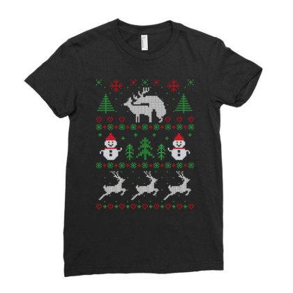 Humping Deers Christmas Ladies Fitted T-shirt Designed By Koopshawneen