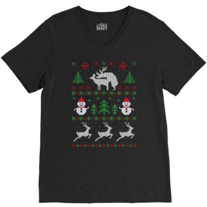 Humping Deers Christmas V-neck Tee Designed By Koopshawneen