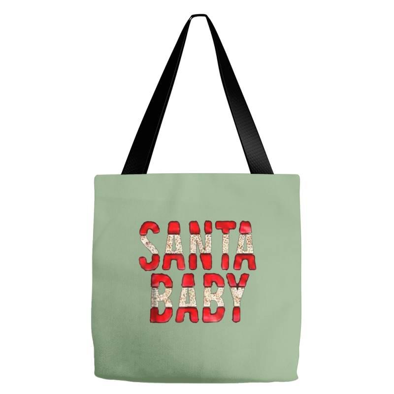 Santa Baby Red Foil Tote Bags | Artistshot