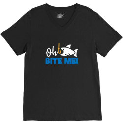 funny fishing quotes oh bite me V-Neck Tee | Artistshot