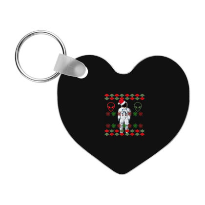 Astronaut And Alien Ugly Christmas Frp Heart Keychain Designed By Koopshawneen