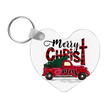 Buffalo Plaid Red Truck Christian Cross Xmas Frp Heart Keychain Designed By Koopshawneen