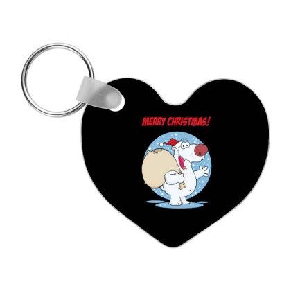 Merry Christmas Greeting With Polar Santa Bear Frp Heart Keychain Designed By Coşkun