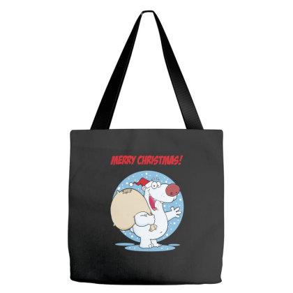 Merry Christmas Greeting With Polar Santa Bear Tote Bags Designed By Coşkun