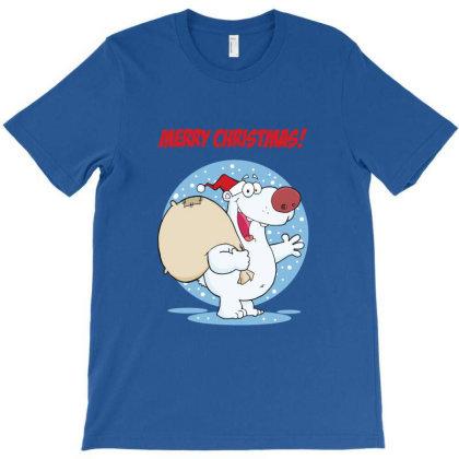Merry Christmas Greeting With Polar Santa Bear T-shirt Designed By Coşkun