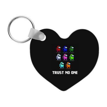 Trust No One - Among Us Game Frp Heart Keychain Designed By Diogo Calheiros