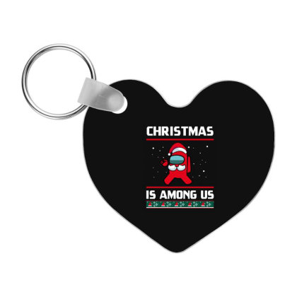 Christmas Ugly Holliday - Among Us Game Frp Heart Keychain Designed By Diogo Calheiros