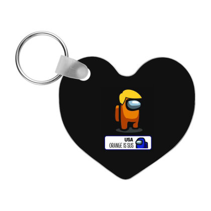 Trump - Orange Is Sus, Vote Him Out  - Among Us Game Frp Heart Keychain Designed By Diogo Calheiros