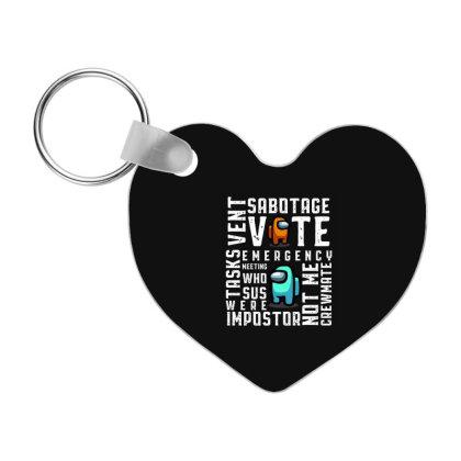 Glossary Retro - Among Us Game Frp Heart Keychain Designed By Diogo Calheiros