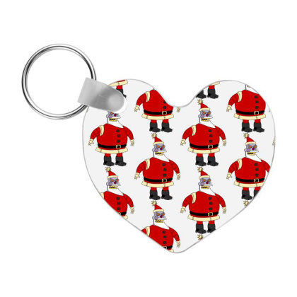 Robot Santa Claus Christmas Frp Heart Keychain Designed By Coşkun