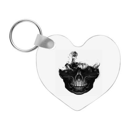Black Skull Halloween Frp Heart Keychain Designed By Coşkun