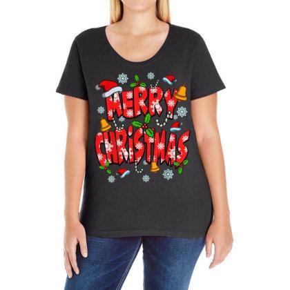Santa Candy Canes Ladies Curvy T-shirt Designed By Koopshawneen
