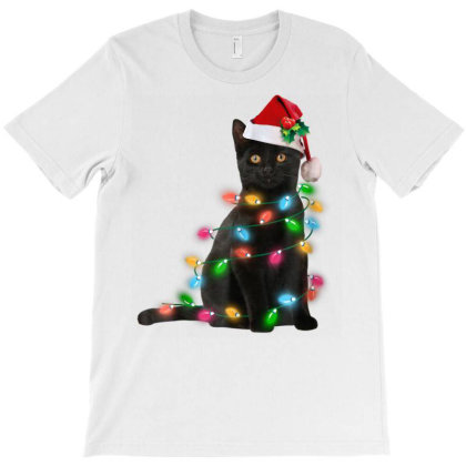 Black Cat Christmas Light Tshirt Funny Cat Lover Christmas T-shirt Designed By Welcome12
