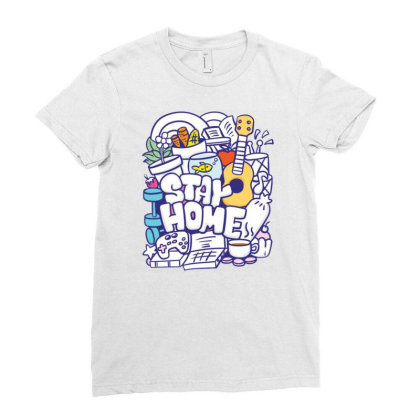 Stay Home Hand Drawn Doodle Ladies Fitted T-shirt Designed By Dulart