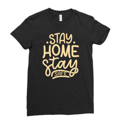 Stay Home 3 Ladies Fitted T-shirt Designed By Dulart