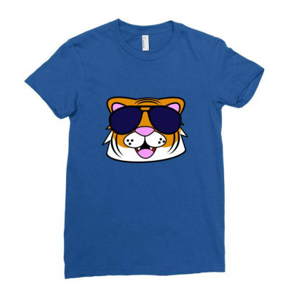 Terrific Tiger Ladies Fitted T-shirt Designed By Blackstone