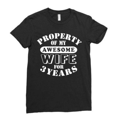 3rd Wedding Anniversary T Shirt Mens My Awesome Wife Funny Gift 3 Year Ladies Fitted T-shirt Designed By Wowotees