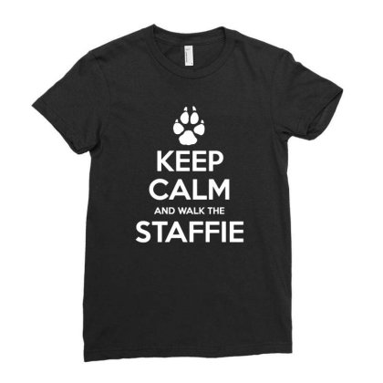 Keep Calm And Walk The Staffie Ladies Fitted T-shirt Designed By Lyly