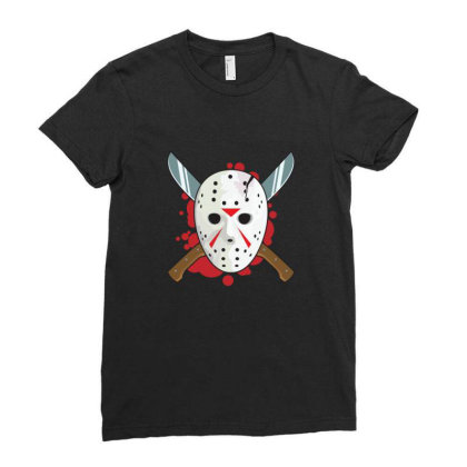 Jason's Mask Ladies Fitted T-shirt Designed By Blackstone