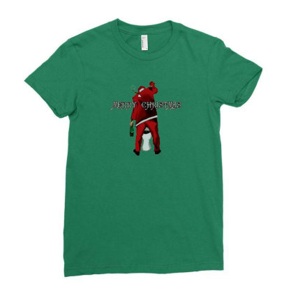 Merry Christmas Santa Pees Ladies Fitted T-shirt Designed By Madumangsa