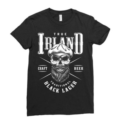 True Irland Craft Beer Traditional Black Lager, Skull Ladies Fitted T-shirt Designed By Estore