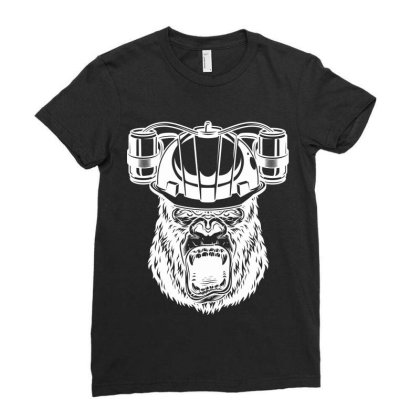 Gorilla Monkey Ladies Fitted T-shirt Designed By Estore