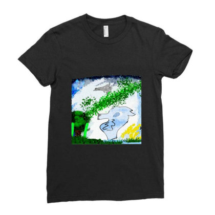 Bird Forest Coyote Chiffon Top Ladies Fitted T-shirt Designed By Blackheart